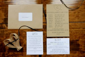 Hand made invitations using textured card telling Kayleigh & Jamie's love story