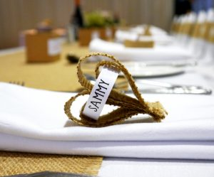 Every place setting had a handmade hessian heart for each guest.