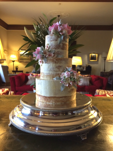 Naked wedding cake by Scrumdiddly.